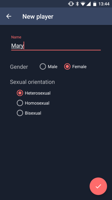 Add player name and define sexual preferences