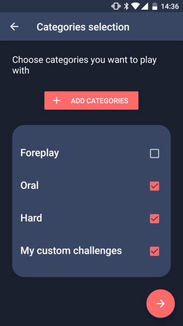 Select the categories you want to play with